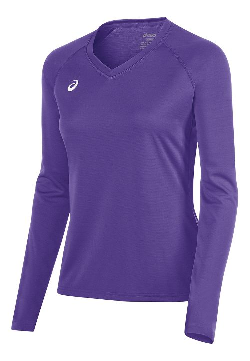 Womens ASICS Circuit 8 Warm-Up Long Sleeve Technical Tops - Purple M