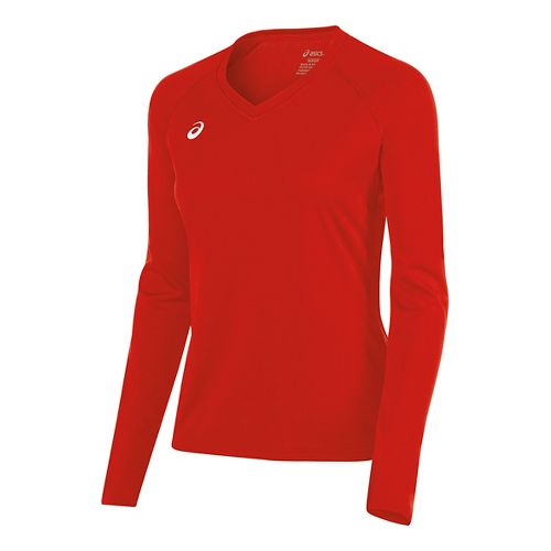 Womens ASICS Circuit 8 Warm-Up Long Sleeve Technical Tops - Red M