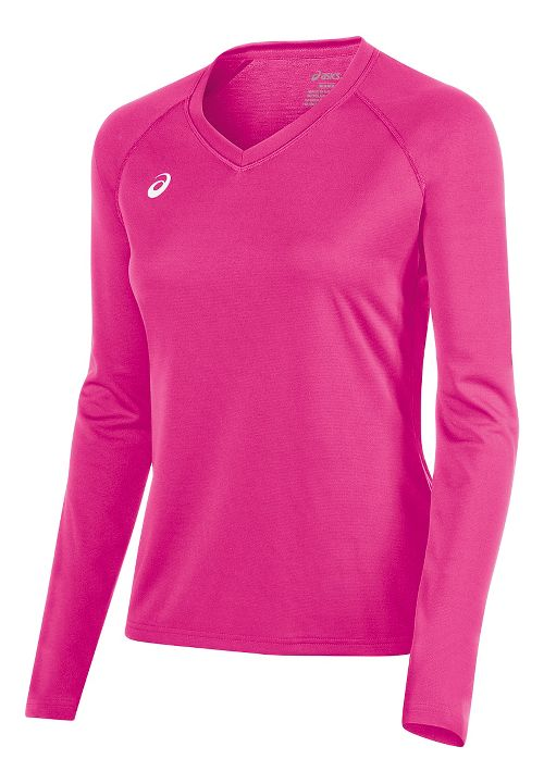 Womens ASICS Circuit 8 Warm-Up Long Sleeve Technical Tops - Pink Glo XS