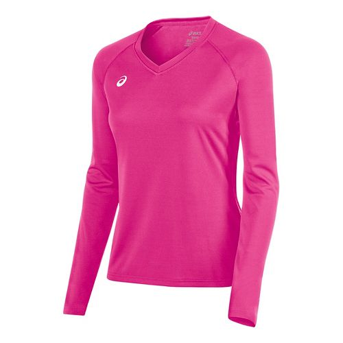Womens ASICS Circuit 8 Warm-Up Long Sleeve Technical Tops - Pink Glo L