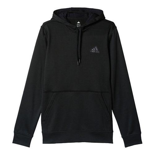 Mens Adidas Team Issue Fleece Pullover Half-Zips & Hoodies Technical Tops - Black Heather S ...