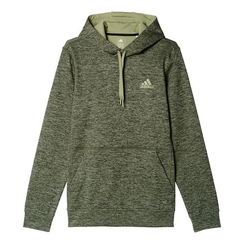 Mens Adidas Team Issue Fleece Pullover Half-Zips & Hoodies Technical Tops - Olive Cargo Heather ...