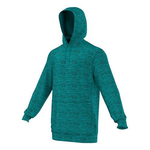 Mens Adidas Team Issue Fleece Pullover Half-Zips & Hoodies Technical Tops - Green Heather M ...