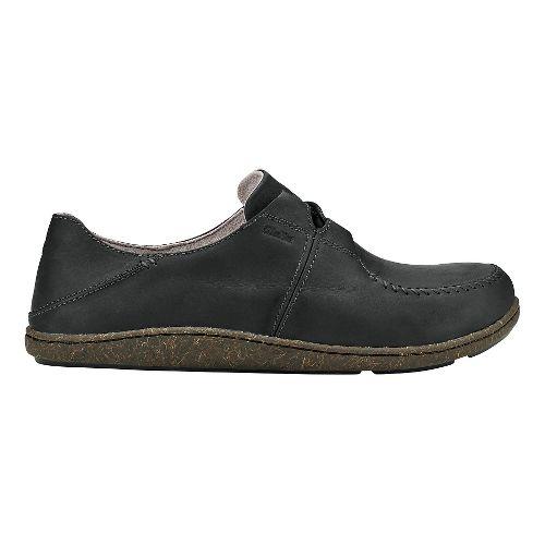 Mens Olukai Honua Leather Casual Shoe - Black/Black 11