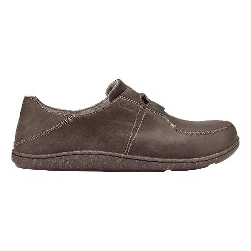 Mens Olukai Honua Leather Casual Shoe - Dark Wood/Dark Wood 9