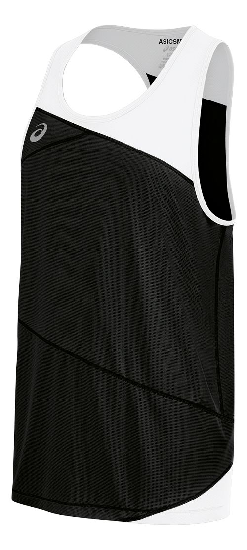 Mens ASICS Gunlap Singlet Sleeveless & Tank Tops Technical Tops - Black/White L