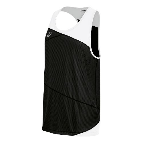 Mens ASICS Gunlap Singlet Sleeveless & Tank Tops Technical Tops - Black/White S