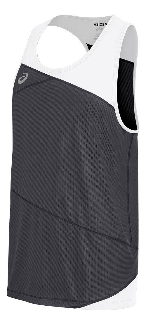 Mens ASICS Gunlap Singlet Sleeveless & Tank Tops Technical Tops - Steel Grey/White M