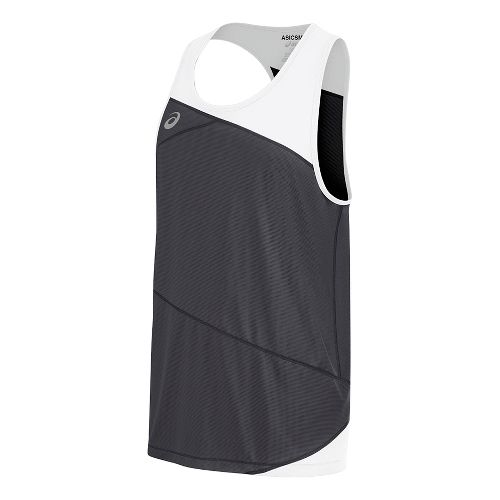 Mens ASICS Gunlap Singlet Sleeveless & Tank Tops Technical Tops - Steel Grey/White S