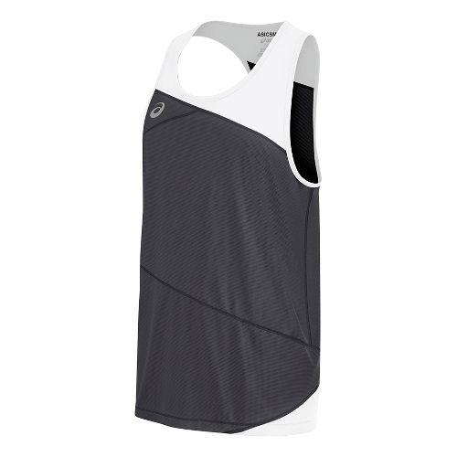 Mens ASICS Gunlap Singlet Sleeveless & Tank Tops Technical Tops - Steel Grey/White XL