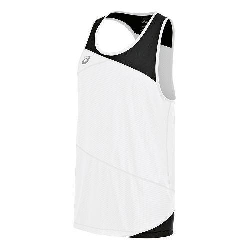 Mens ASICS Gunlap Singlet Sleeveless & Tank Tops Technical Tops - White/Black S