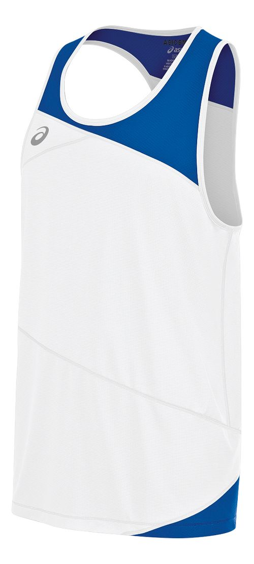 Mens ASICS Gunlap Singlet Sleeveless & Tank Tops Technical Tops - White/Royal L