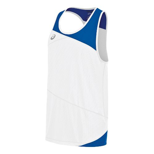 Mens ASICS Gunlap Singlet Sleeveless & Tank Tops Technical Tops - White/Royal S