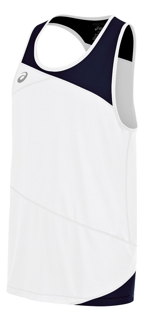 Mens ASICS Gunlap Singlet Sleeveless & Tank Tops Technical Tops - White/Navy L