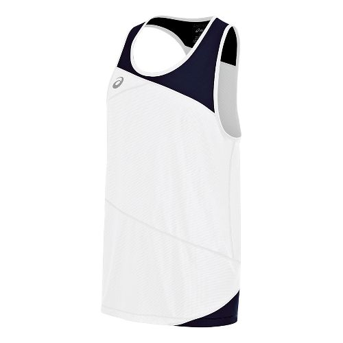 Mens ASICS Gunlap Singlet Sleeveless & Tank Tops Technical Tops - White/Navy S