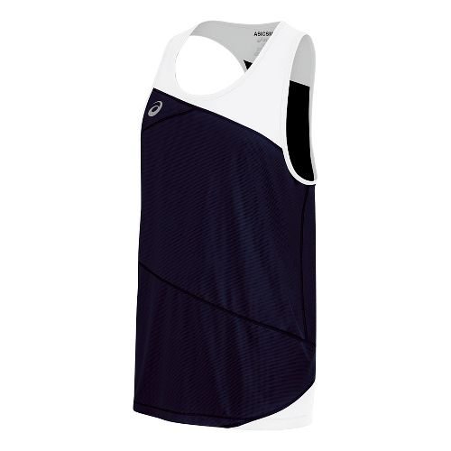 Mens ASICS Gunlap Singlet Sleeveless & Tank Tops Technical Tops - Navy/White 3XL