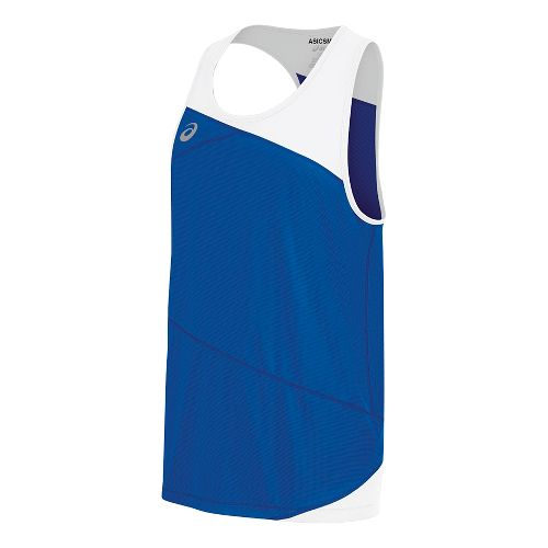 Mens ASICS Gunlap Singlet Sleeveless & Tank Tops Technical Tops - Royal/White S