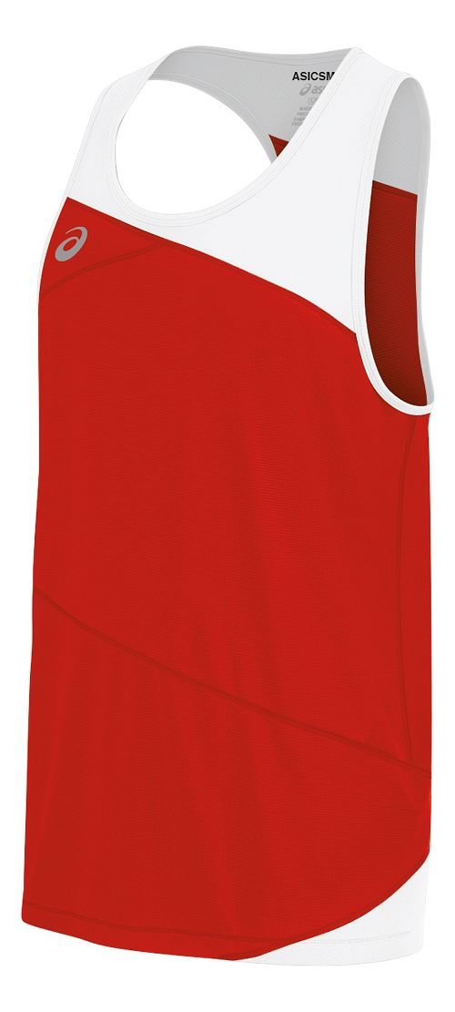 Mens ASICS Gunlap Singlet Sleeveless & Tank Tops Technical Tops - Red/White XL