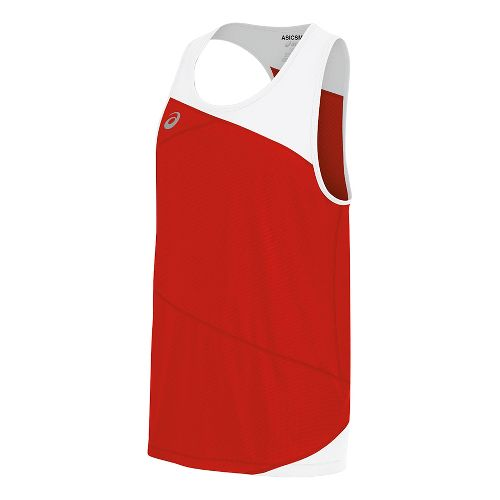 Mens ASICS Gunlap Singlet Sleeveless & Tank Tops Technical Tops - Red/White L