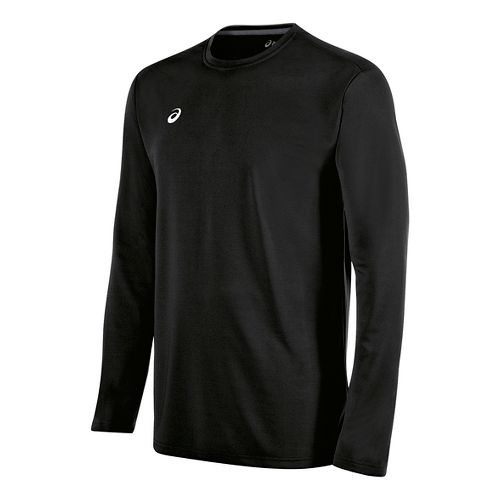 Mens ASICS Circuit 8 Warm-Up Long Sleeve Technical Tops - Black M