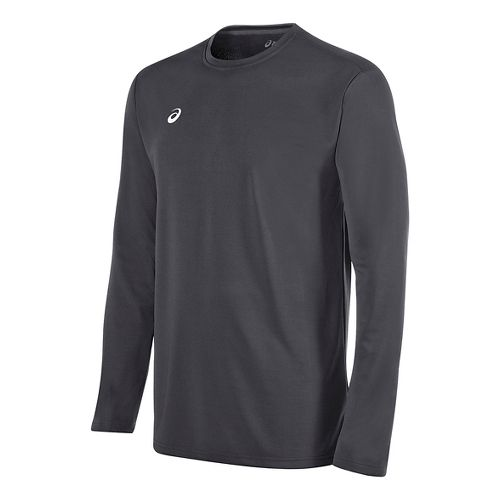 Mens ASICS Circuit 8 Warm-Up Long Sleeve Technical Tops - Steel Grey XS