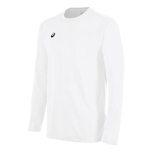 Mens ASICS Circuit 8 Warm-Up Long Sleeve Technical Tops - White XL