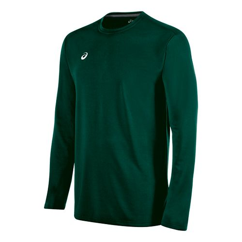 Mens ASICS Circuit 8 Warm-Up Long Sleeve Technical Tops - Forest XS