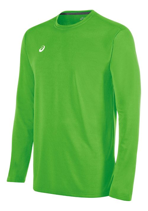 Mens ASICS Circuit 8 Warm-Up Long Sleeve Technical Tops - Neon Green 3XL