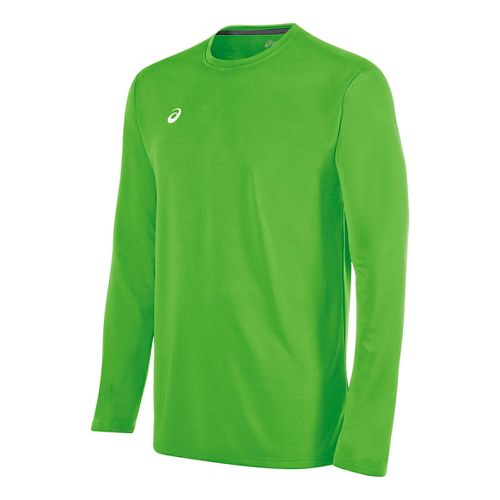 Mens ASICS Circuit 8 Warm-Up Long Sleeve Technical Tops - Neon Green S