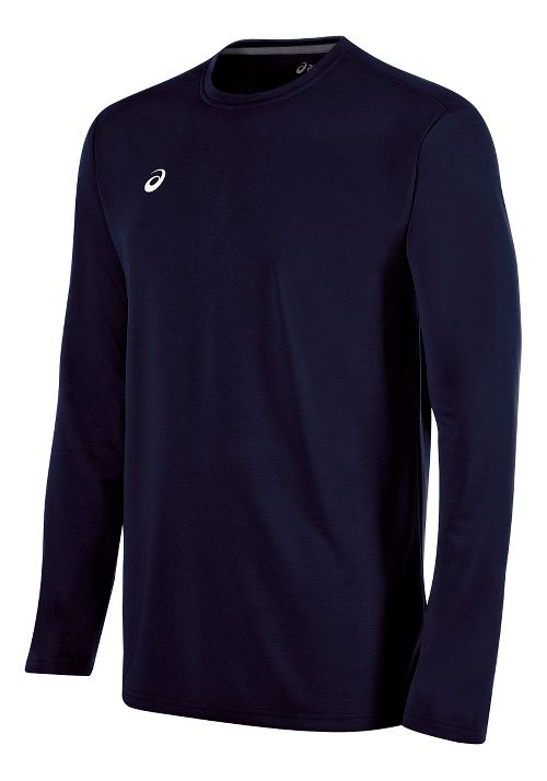 Mens ASICS Circuit 8 Warm-Up Long Sleeve Technical Tops - Navy S