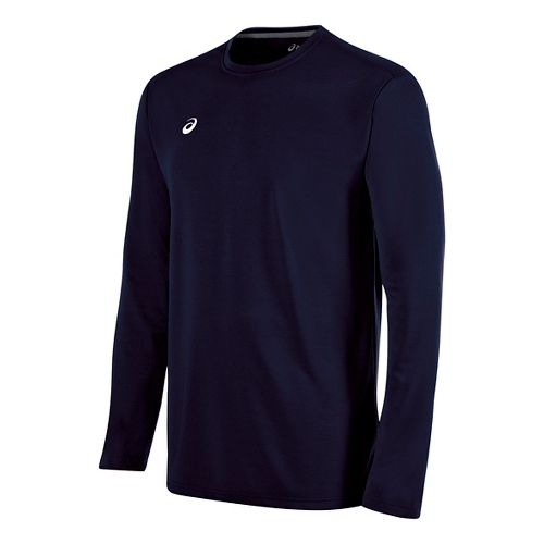 Mens ASICS Circuit 8 Warm-Up Long Sleeve Technical Tops - Navy 3XL