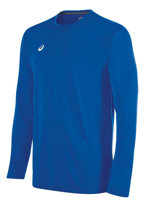 Mens ASICS Circuit 8 Warm-Up Long Sleeve Technical Tops - Royal XS
