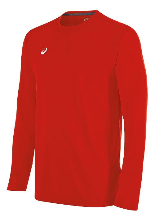 Mens ASICS Circuit 8 Warm-Up Long Sleeve Technical Tops - Red XL