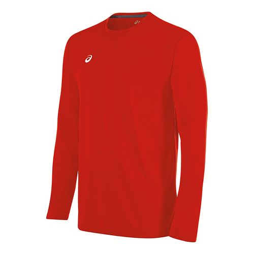 Mens ASICS Circuit 8 Warm-Up Long Sleeve Technical Tops - Red L