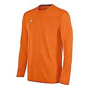 Mens ASICS Circuit 8 Warm-Up Long Sleeve Technical Tops - Neon Orange S
