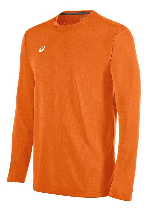 Mens ASICS Circuit 8 Warm-Up Long Sleeve Technical Tops - Neon Orange M