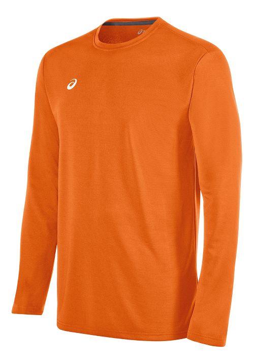Mens ASICS Circuit 8 Warm-Up Long Sleeve Technical Tops - Neon Orange XL