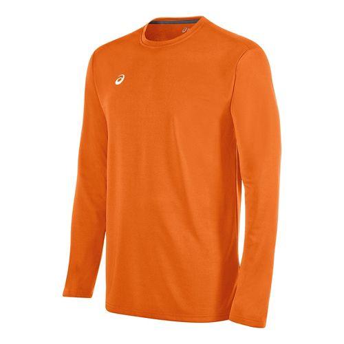 Mens ASICS Circuit 8 Warm-Up Long Sleeve Technical Tops - Neon Orange L
