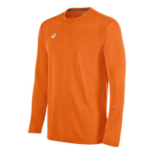 Mens ASICS Circuit 8 Warm-Up Long Sleeve Technical Tops - Neon Orange XL