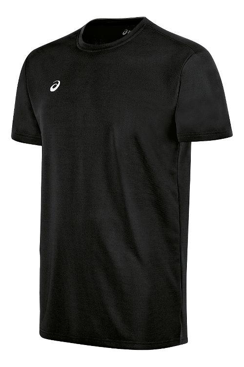 Mens ASICS Circuit 8 Warm-Up Shirt Short Sleeve Technical Tops - Black XS
