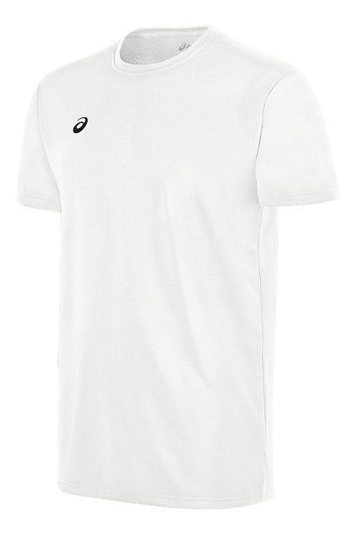 Mens ASICS Circuit 8 Warm-Up Shirt Short Sleeve Technical Tops - White M