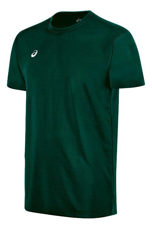 Mens ASICS Circuit 8 Warm-Up Shirt Short Sleeve Technical Tops - Forest XS