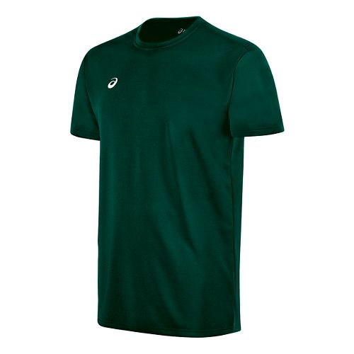 Mens ASICS Circuit 8 Warm-Up Shirt Short Sleeve Technical Tops - Forest XS