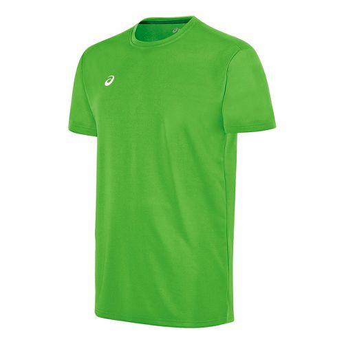 Mens ASICS Circuit 8 Warm-Up Shirt Short Sleeve Technical Tops - Neon Green S