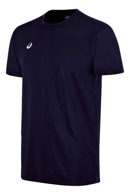 Mens ASICS Circuit 8 Warm-Up Shirt Short Sleeve Technical Tops - Navy 3XL
