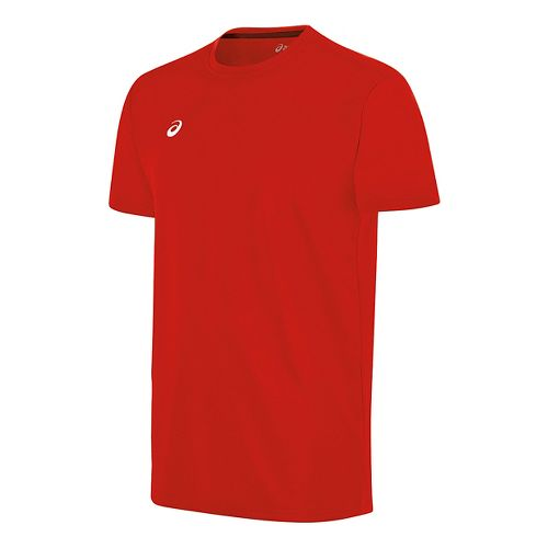 Mens ASICS Circuit 8 Warm-Up Shirt Short Sleeve Technical Tops - Red S