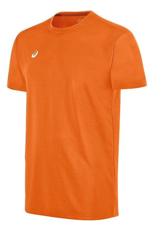 Mens ASICS Circuit 8 Warm-Up Shirt Short Sleeve Technical Tops - Neon Orange XS
