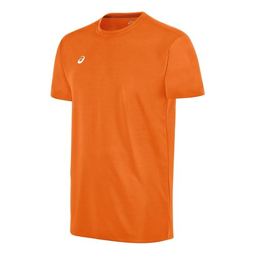 Mens ASICS Circuit 8 Warm-Up Shirt Short Sleeve Technical Tops - Neon Orange XS