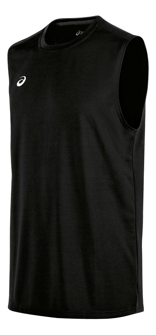 Mens ASICS Circuit 8 Warm-Up Sleeveless & Tank Tops Technical Tops - Black XL