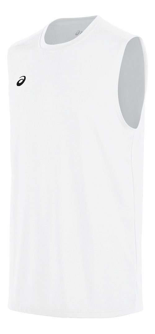 Mens ASICS Circuit 8 Warm-Up Sleeveless & Tank Tops Technical Tops - White S